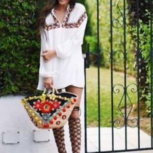 Zara White Embroidered Dress Boho Tunic